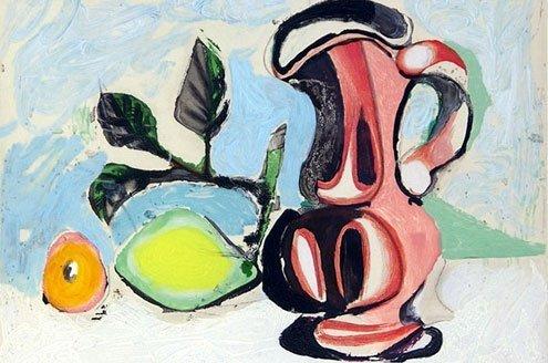 """Pablo Picasso, """"Nature morte au citron et un pichet rouge """"(Still Life with Lemon and Red Pitcher), 1955."""