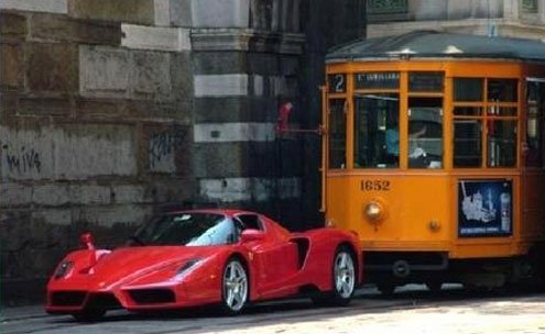 What comes first, Ferrari or tram?