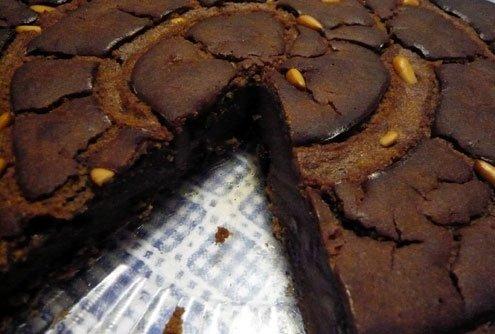 Baked chestnut flour and olive oil unleavened dough.