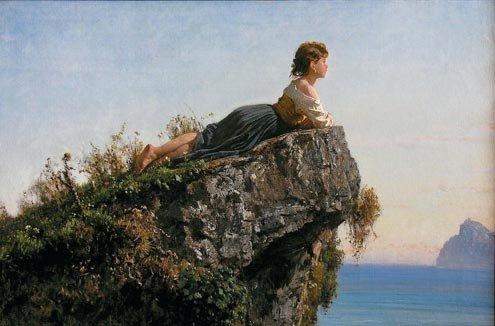 Fanciulla sulla roccia a Sorrento, Filippo Palizzi.