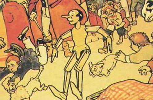 Drawing Attilio Mussino: Pinocchio the truant.