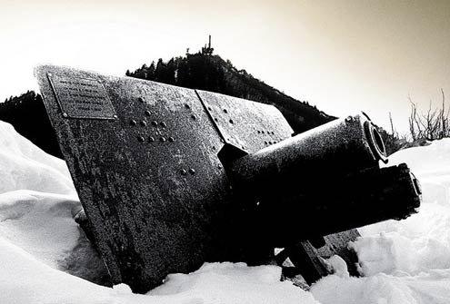 A cannon on Monte Campo dei Fiori di Varese.