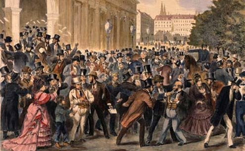 In May 1873, the Vienna Stock Exchange crashed, unable to sustain the bubble of false expansion.