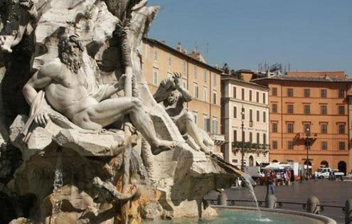 Piazza Navona and Bernini's rivers.