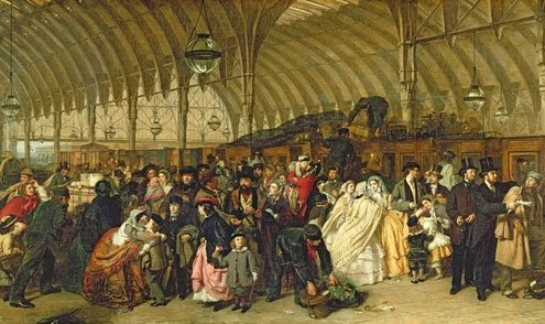 The Railway Station, a scene from Paddington station, by William Frith.