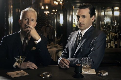 John Slattery as Roger Sterling, left, and Jon Hamm as Don Draper, right, pictured in the Roosevelt bar.