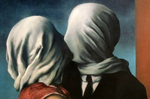 "Detail from Magritte's ""The Lovers,"" 1928."