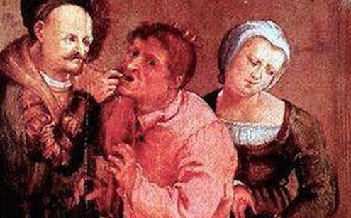 "Detail from ""Farmer at the Dentist"" by Johann Liss, 1616."