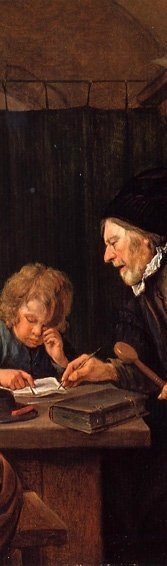 "Detail from ""The Severe Teacher,"" by Jan Steen."