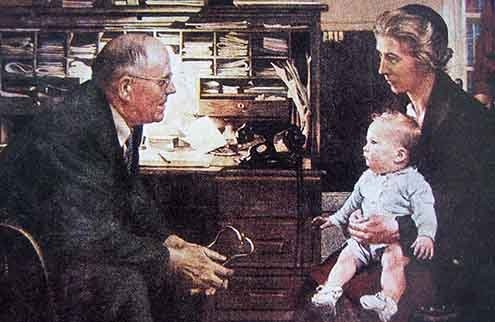 "Norman Rockwell's ""The Country Doctor."""