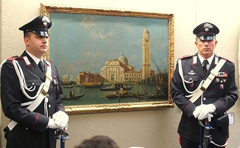 An artifacts display show at Rome's Museum of the Carabinieri.