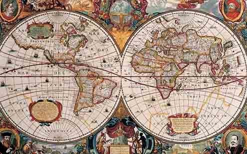 The known world in the 17th century.